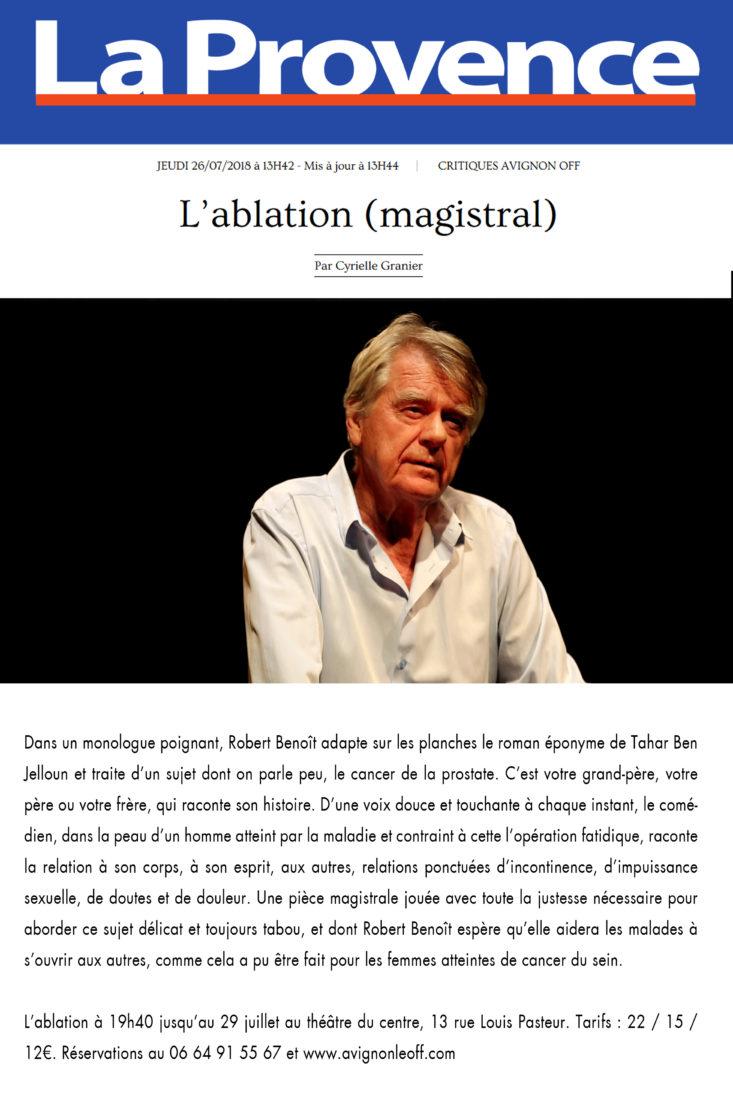 Magistral ! Le spectacle L'Ablation au festival d'Avignon 2018